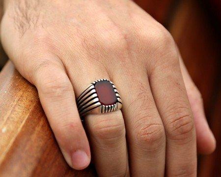 925 Ayar Gümüş Akik Taşlı Kare Model Yüzük - Thumbnail