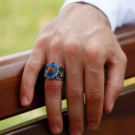 Tuğra İşlemeli Arma Tasarım Mavi Sedef Taşlı 925 Ayar Gümüş Yüzük - Thumbnail