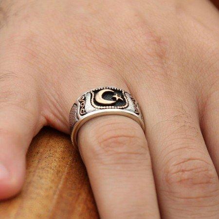 925 Ayar Gümüş Ayyıldız Nokta İşlemeli Yüzük - Thumbnail