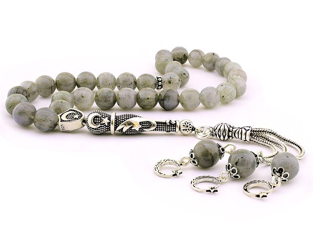 925 Ayar Gümüş Ayyıldız Püsküllü Küre Kesim Labradorit Doğaltaş Tesbih