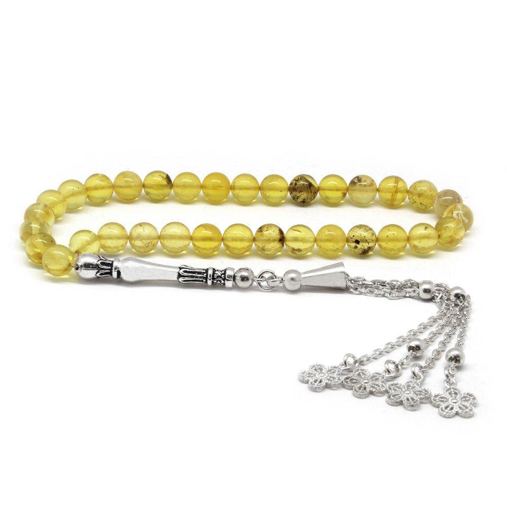 925 Ayar Gümüş Çiçek Püsküllü Küre Kesim Açık Sarı Damla Kehribar Tesbih