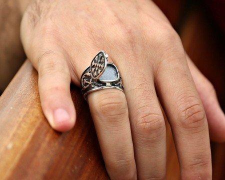 Kapaklı 925 Ayar Gümüş Deli Yürek Yüzüğü - Thumbnail