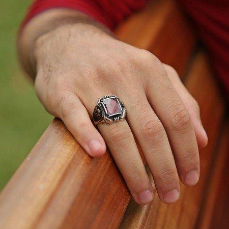 Tuğra İşlemeli Kırmızı Zirkon Taşlı 925 Ayar Gümüş Payitaht Erkek Yüzük - Thumbnail