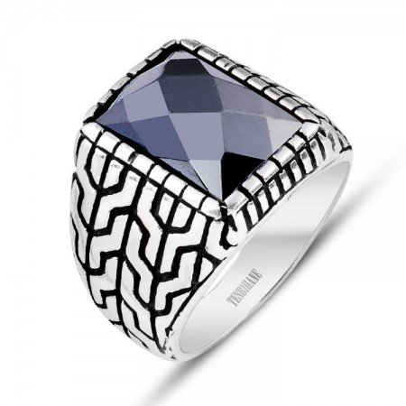 925 Ayar Gümüş Kristal Zirkon Taşlı Yüzük - Thumbnail