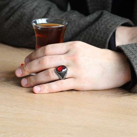 925 Ayar Gümüş Mikro Taş İşlemeli Kırmızı Zirkon Taşlı Erkek Yüzük - Thumbnail