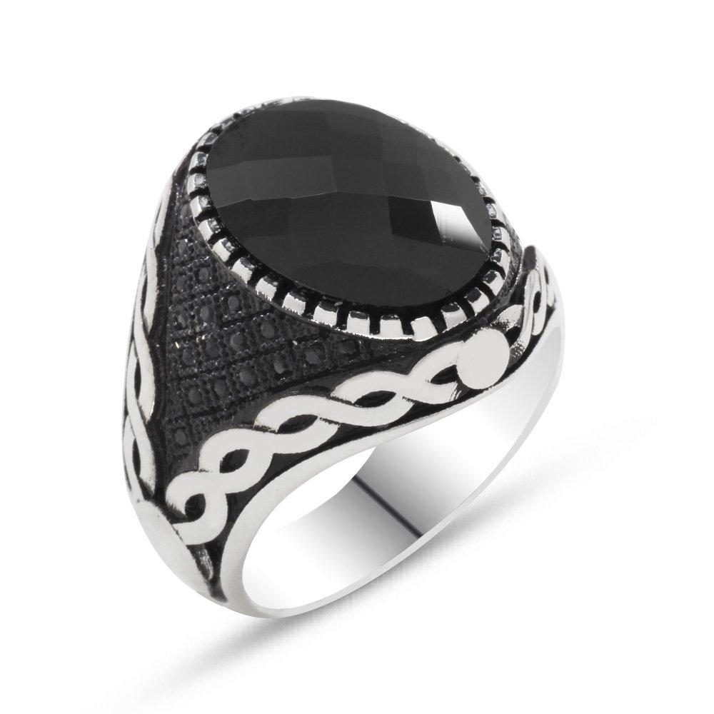 925 Ayar Gümüş Mikro Taş İşlemeli Siyah Zirkon Taşlı Erkek Yüzük