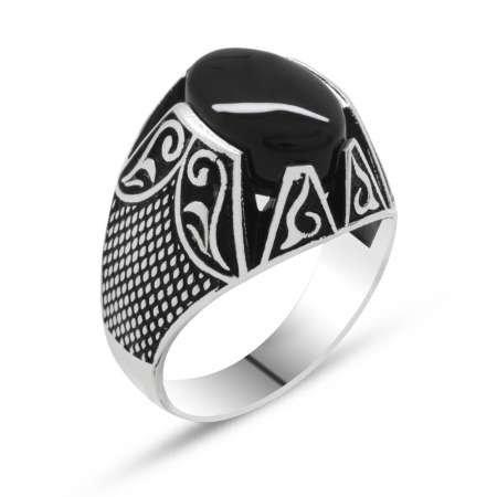 925 Ayar Gümüş Nokta İşlemeli Siyah Oniks Taşlı Erkek Yüzük - Thumbnail