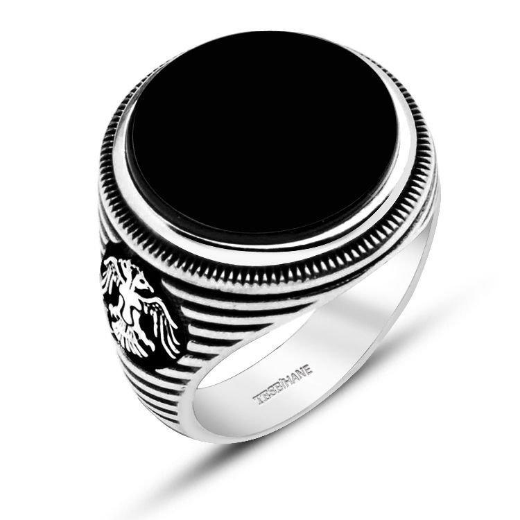 925 Ayar Gümüş Oniks Taşlı Selçuklu Kartalı Model Yüzük