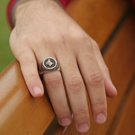 Tuğra Motifli Oniks Taşlı 925 Ayar Gümüş Erkek Yüzük - Thumbnail