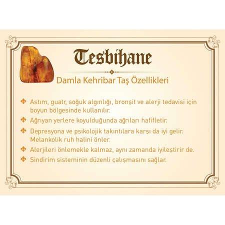925 Ayar Gümüş Püsküllü Arpa Kesim Sarı Damla Kehribar Tesbih - Thumbnail