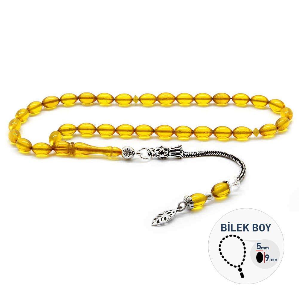 925 Ayar Gümüş Püsküllü Bilek Boy Sarı Sıkma Kehribar Tesbih
