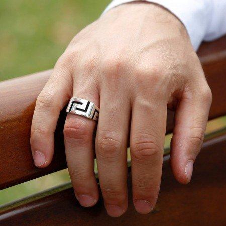 925 Ayar Sade Gümüş Yüzük - Thumbnail