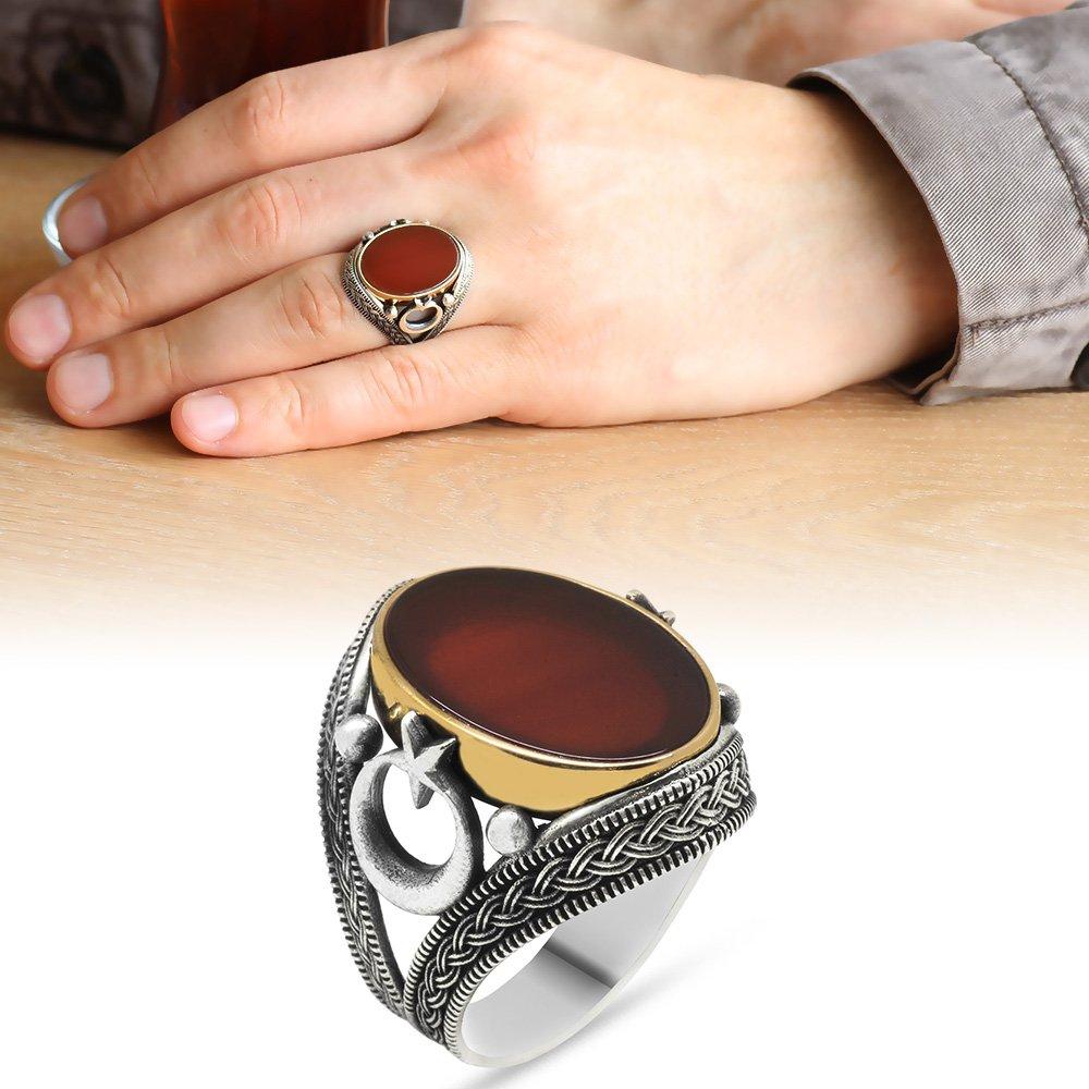Ayyıldız-Hasır İşlemeli Oval Kırmızı Akik Taşlı 925 Ayar Gümüş Erkek Yüzük