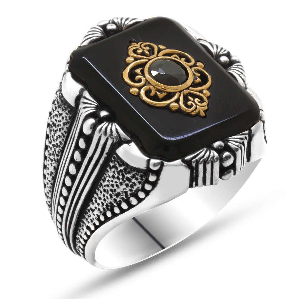 Baklava Desen Motifli Siyah Mineli-Zirkon Taşlı 925 Ayar Gümüş Erkek Yüzük