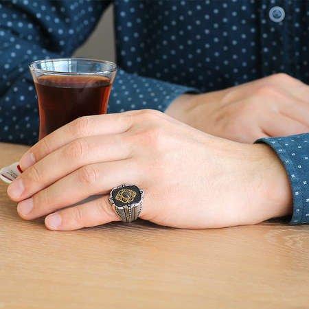 Baklava Desen Motifli Siyah Mineli-Zirkon Taşlı 925 Ayar Gümüş Erkek Yüzük - Thumbnail
