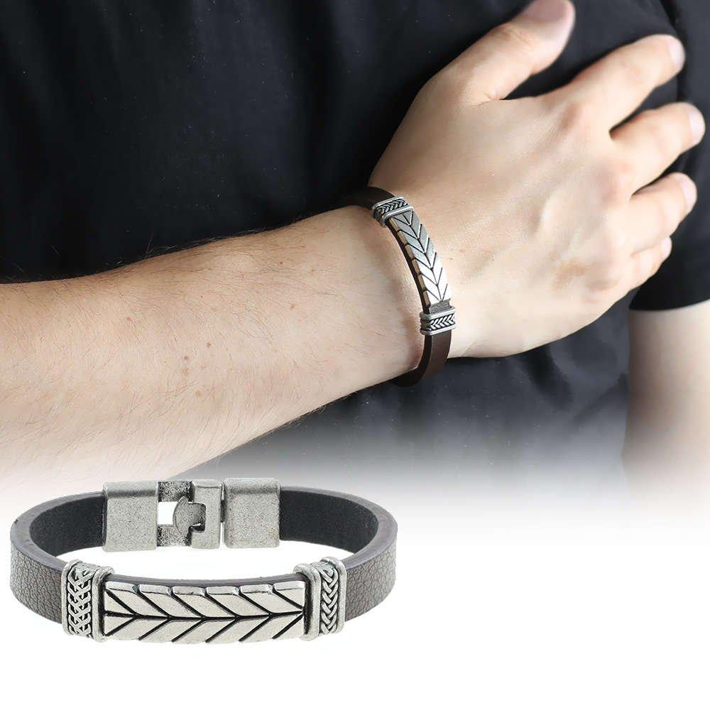 Ok Tasarım Kahverengi Kararmaz Metal-Deri Kombinli Erkek Bileklik