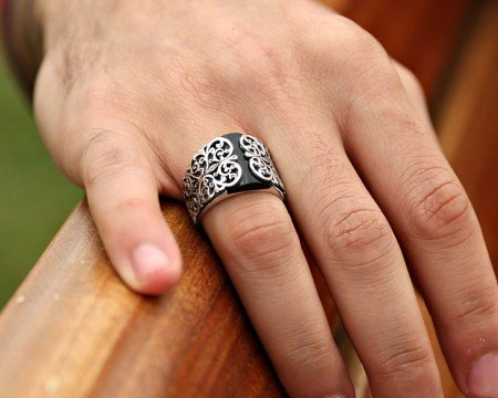 Erzurum El İşçiliği Oniks Taşlı Gümüş Yüzük - Thumbnail