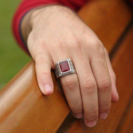 Erzurum El İşi Akik Taşlı Gümüş Yüzük - Thumbnail
