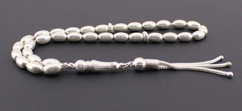 Kalem İşçilikli Arpa 925 Ayar Gümüş Tesbih