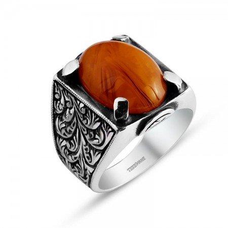 Kalem İşlemeli Erzurum El İşi Sıkma Kehribarlı Yüzük (model 3) - Thumbnail