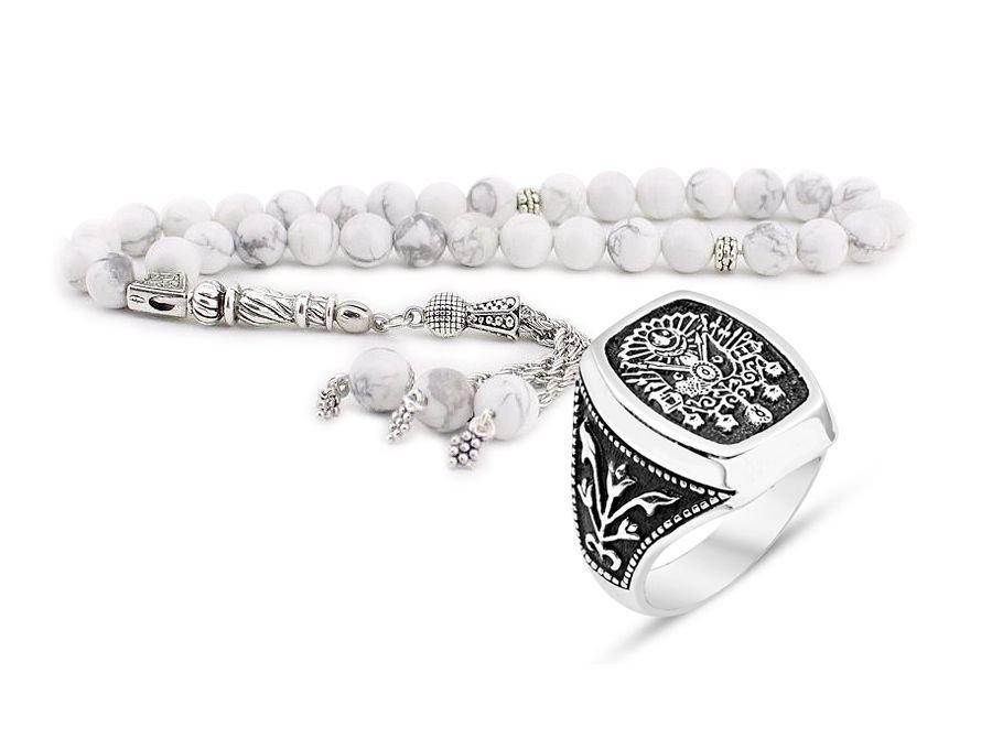 Küre Kesim Havlit Tesbih ve 925 Ayar Gümüş Adanalı Dizisi Yüzüğü