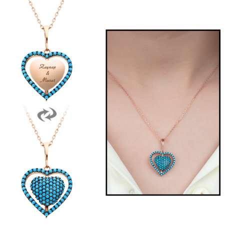 Mavi Firuze Taşlı Kişiye Özel İsim Yazılı Rose Renk 925 Ayar Gümüş Kalp Kolye - Thumbnail
