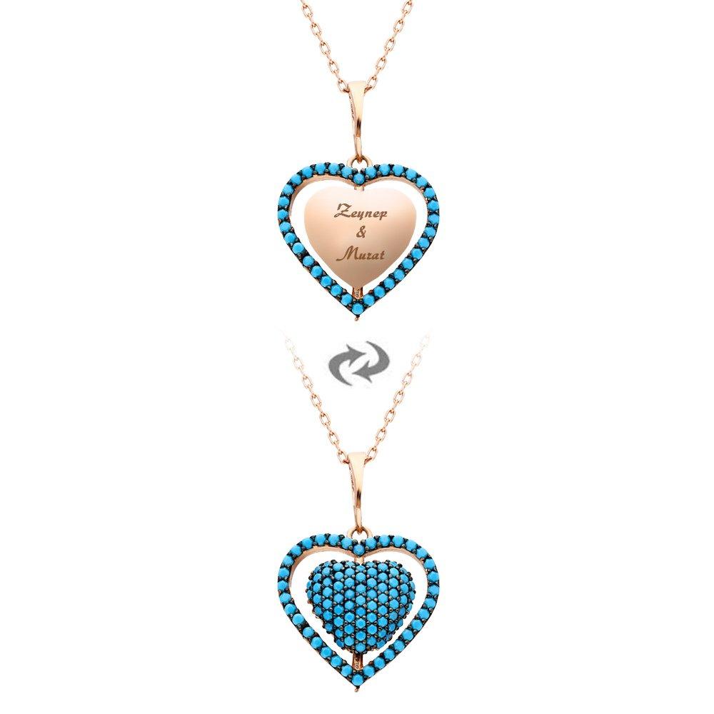 Mavi Firuze Taşlı Kişiye Özel İsim Yazılı Rose Renk 925 Ayar Gümüş Kalp Kolye