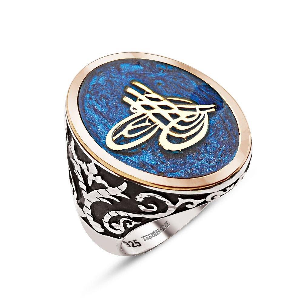 Mavi Mine Üzerine Tuğralı 925 Ayar Gümüş Yüzük