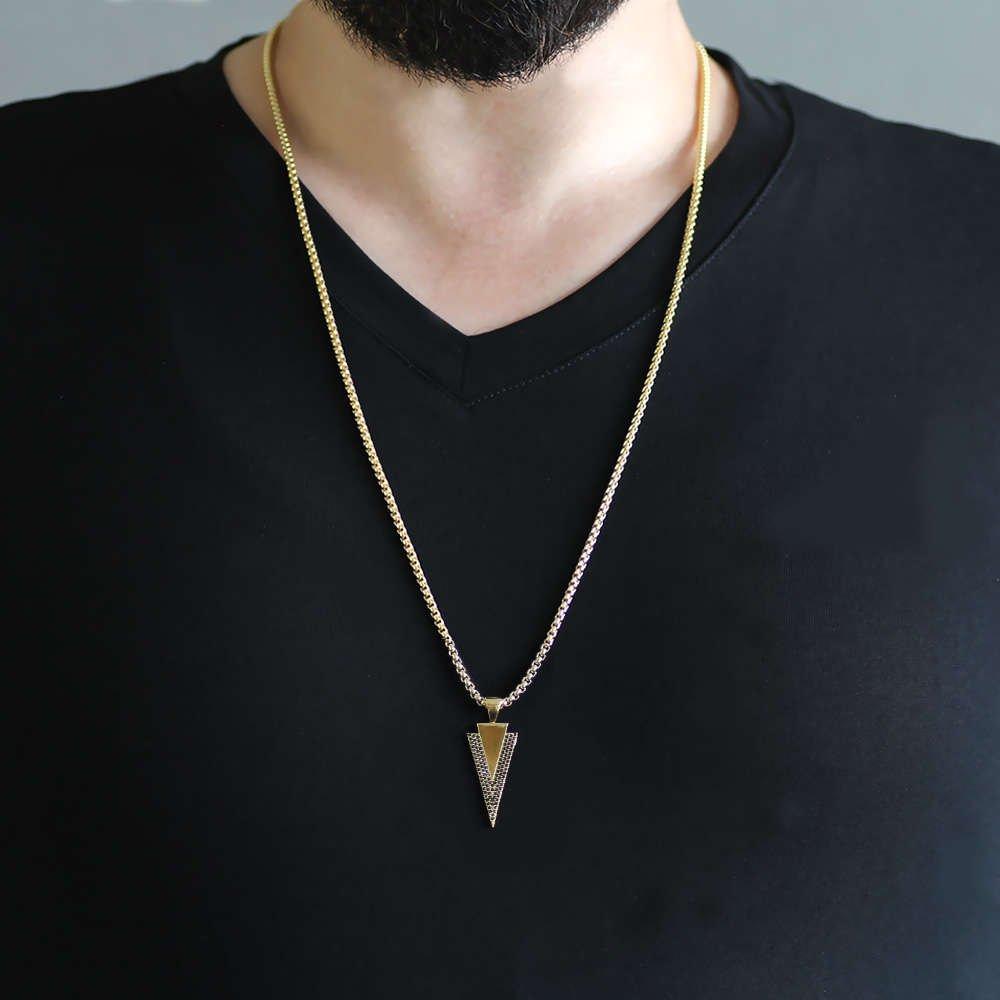 Ok Tasarım Siyah Zirkon Taşlı Gold Renk Zincir Pirinç Kolye