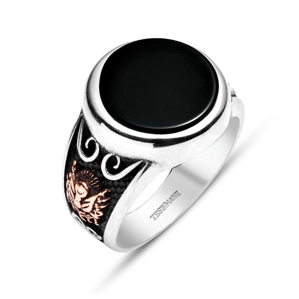 Oniks Taşlı-925 Ayar Gümüş Özel Tasarım Yüzük