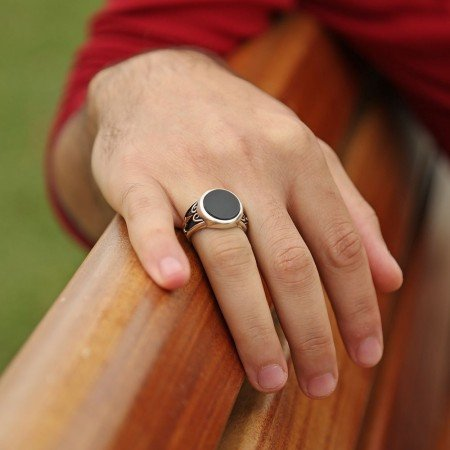 Oniks Taşlı-925 Ayar Gümüş Özel Tasarım Yüzük - Thumbnail
