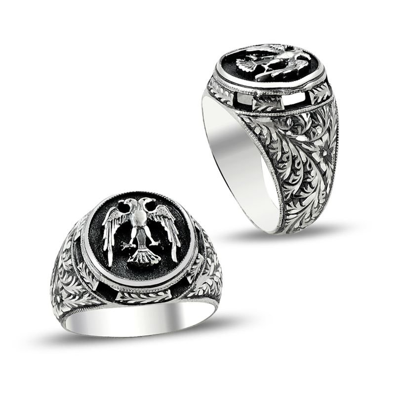 Özel Erzurum El İşçiliği Selçuklu Kartalı Gümüş Yüzük