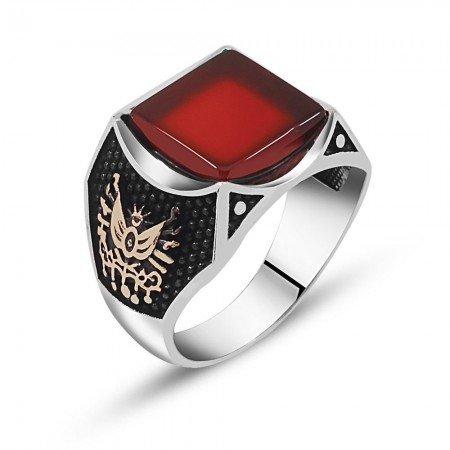 Özel Tasarım Akik Taşlı Gümüş Yüzük (model 2) - Thumbnail