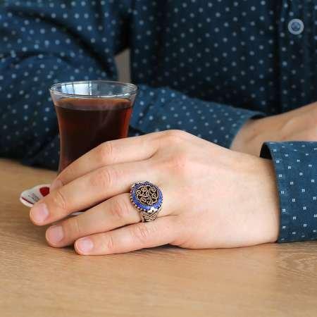 Özel Tasarım Oval Lacivert Zirkon Taşlı 925 Ayar Gümüş Erkek Yüzük - Thumbnail