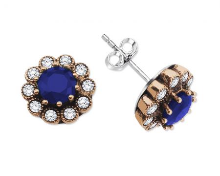 Parlement Mavisi Zirkon Taşlı Çiçek Tasarım 925 Ayar Gümüş Küpe - Thumbnail