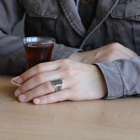 925 Ayar Gümüş Pusat Yüzüğü - Thumbnail
