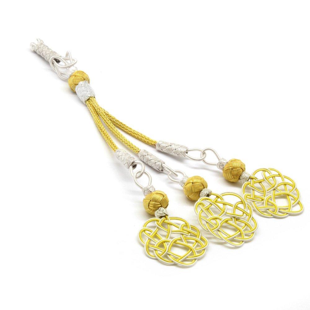 Sarı-Beyaz Renk 1000 Ayar Gümüş 3'lü Kazaz Püskül
