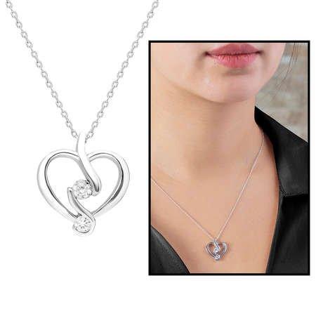 Starlight Diamond Tektaş Kalp Tasarım 925 Ayar Gümüş Bayan Kolye - Thumbnail