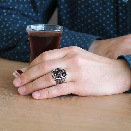 Tuğra Motifli Şeffaf Mineli 925 Ayar Gümüş Erkek Yüzük - Thumbnail