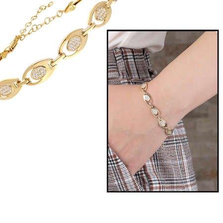 Zirkon Taşlı 6'lı Tiger's Eye Gold Renk 925 Ayar Gümüş Bayan Bileklik - Thumbnail