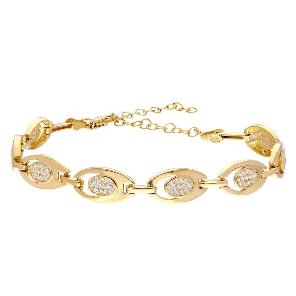 Zirkon Taşlı 6'lı Tiger's Eye Gold Renk 925 Ayar Gümüş Bayan Bileklik