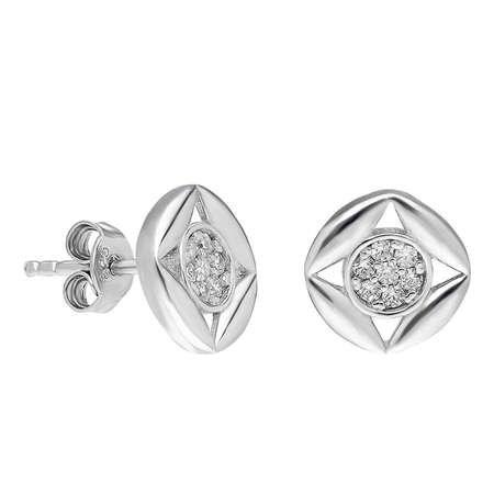 Zirkon Taşlı Kare Tasarım 925 Ayar Gümüş Küpe - Thumbnail