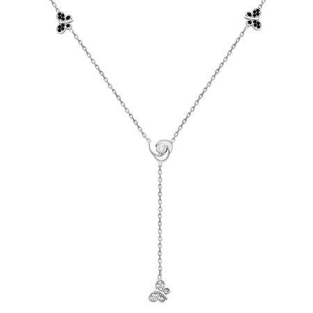 Zirkon Taşlı Kelebek Tasarım 925 Ayar Gümüş Şans Kolyesi - Thumbnail