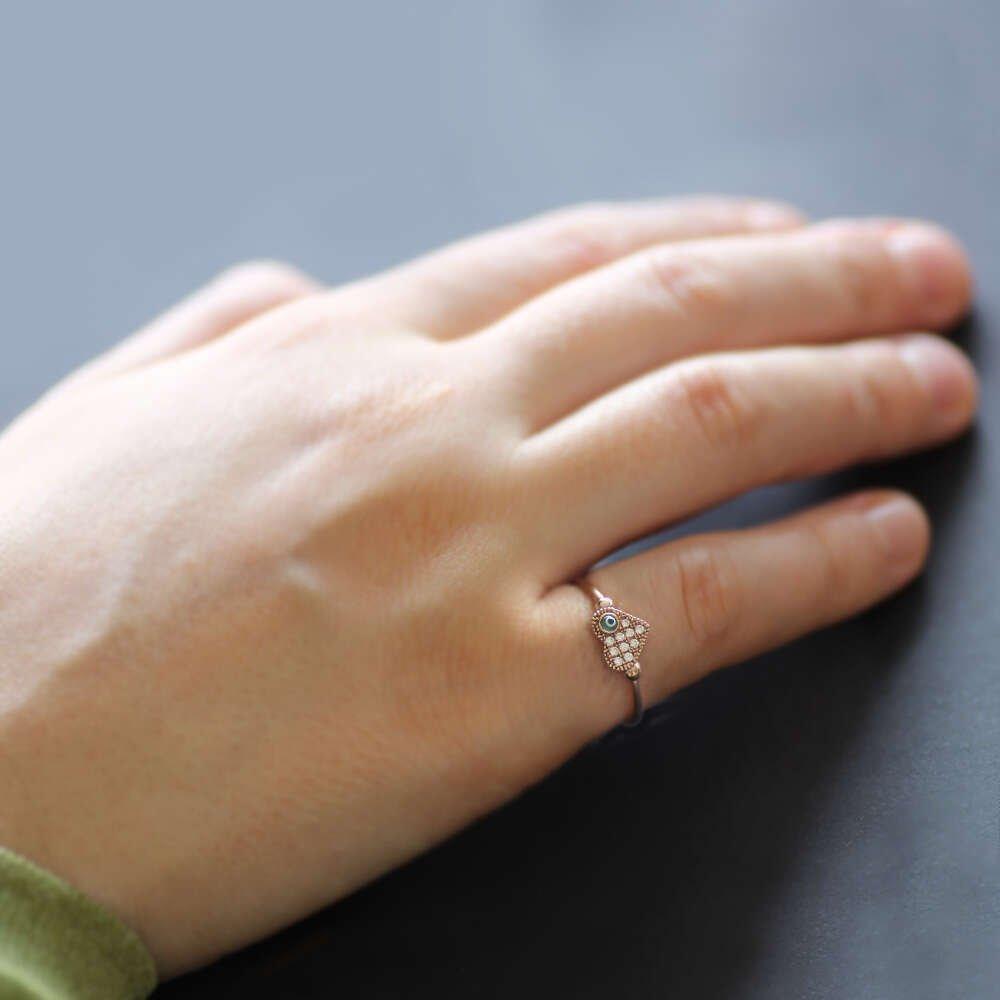 Zirkon Taşlı Nazar Boncuklu-Kalp Tasarım Gold 925 Ayar Gümüş Bayan Yüzük